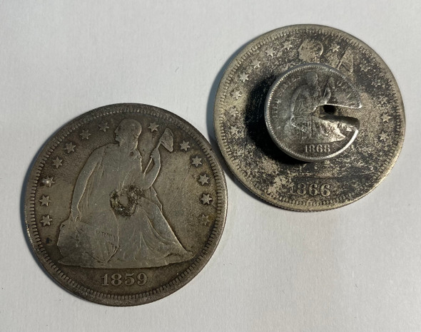 United States: 1859 and 1866 Pair of Seated Dollar Love Tokens