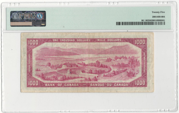 Canada: 1954 $1000 Bank Of Canada Devil's Face Banknote PMG VF25