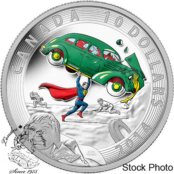 Canada: 2014 $10 Iconic Superman Comic Book Covers: Action Comics #1 from 1938 Coloured Silver Coin