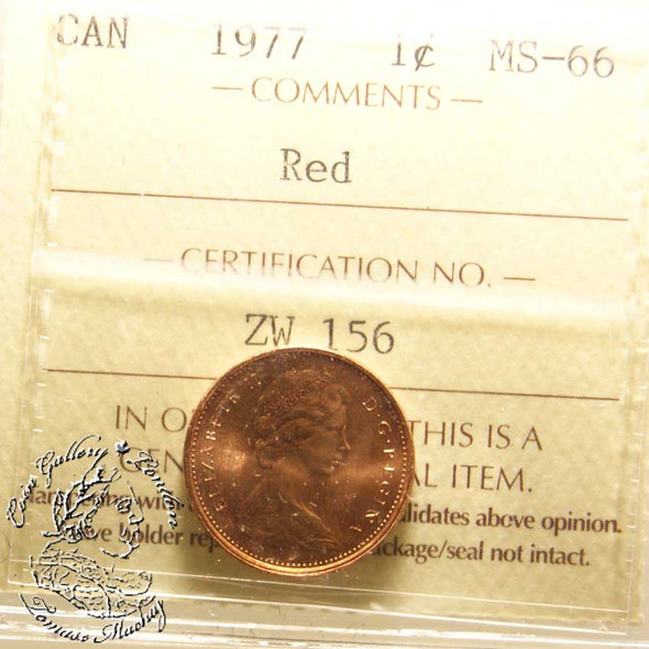 Canada: 1977 1 Cent ICCS MS66 Red Coin nr 2