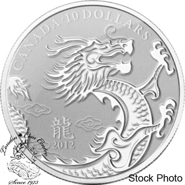 Canada: 2012 $10 Dragon 1/2 oz Pure Silver Coin