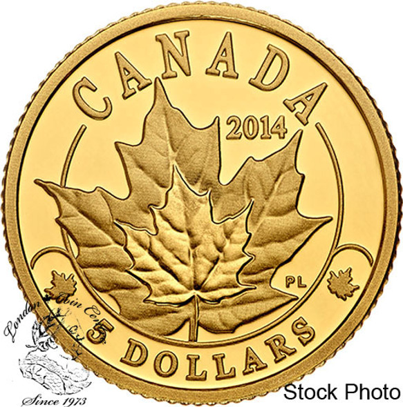 Canada: 2014 $5 Overlaid Majestic Maple Leaves Gold Coin