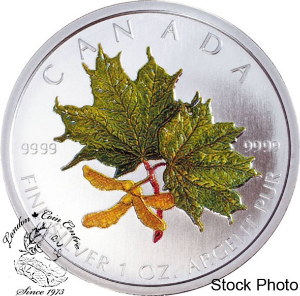 Canada: 2002 $5 Green Coloured Silver Maple Leaf Coin Spring