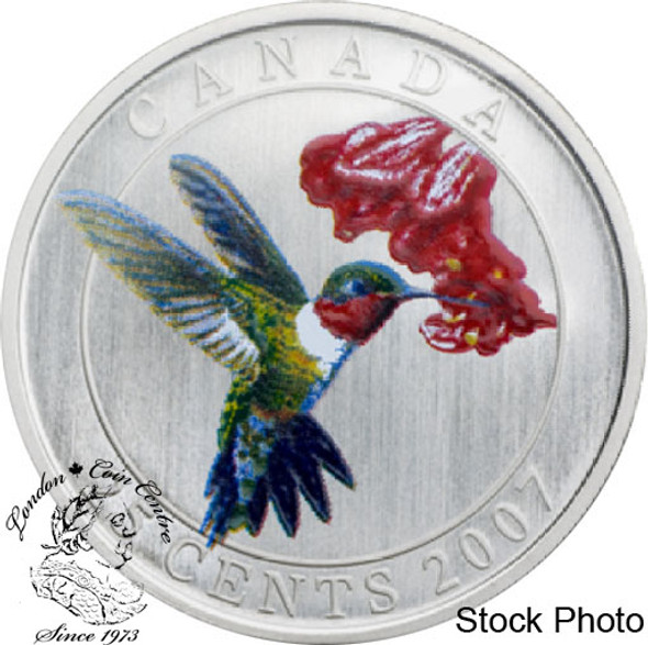 Canada: 2007 25 Cents Ruby-throated Hummingbird Coloured Coin
