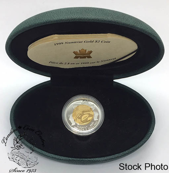 Canada: 1999 $2 Nunavut Proof 22k Gold Coin in Green Clamshell Case
