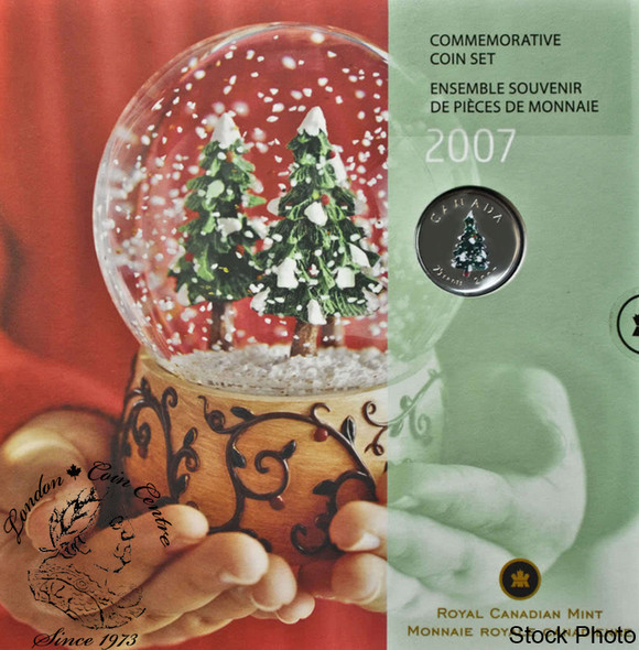 Canada: 2007 Holiday Gift Set with Christmas Tree Coloured Quarter
