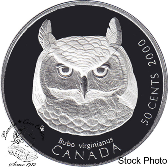 Canada: 2000 50 Cent Canada's Birds of Prey Great Horned Owl Silver Coin