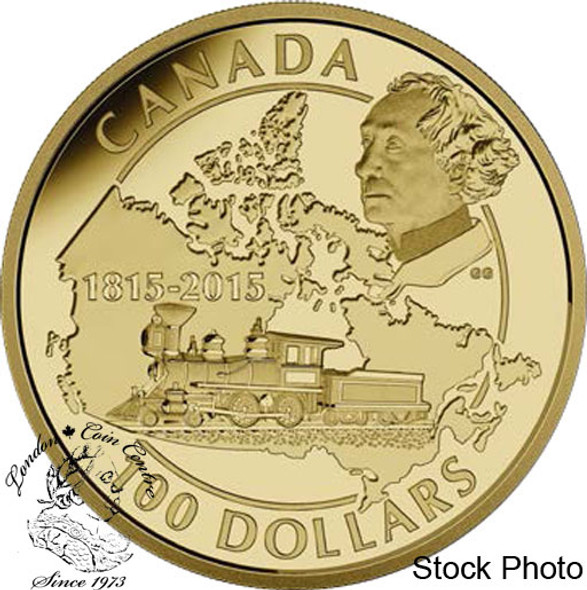 Canada: 2015 $100 200th Anniversary of the Birth of Sir John A. Macdonald Gold Coin