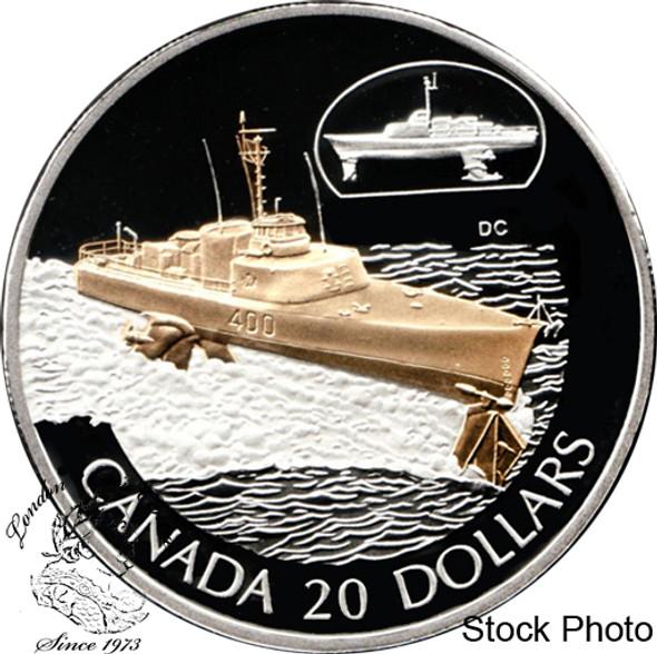 Canada: 2003 $20 HMCS Bras d'or Silver Coin