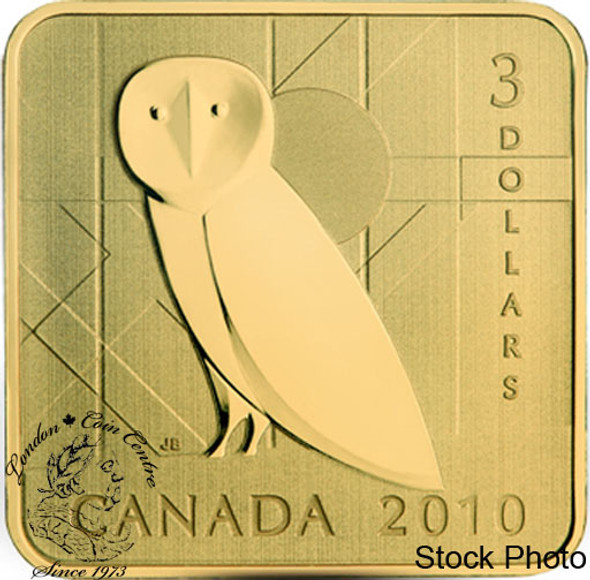 Canada: 2010 $3 Barn Owl Square Sterling Silver Gold Plated Coin