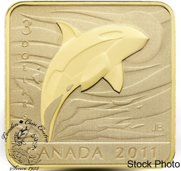 Canada: 2011 $3 Orca Whale Square Sterling Silver Gold Plated Coin