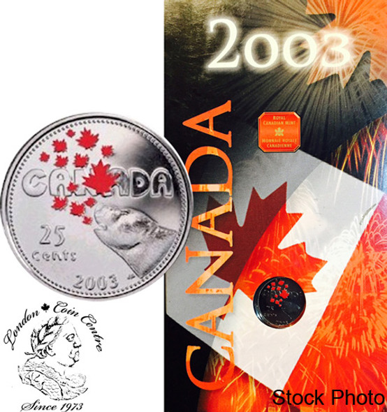 Canada: 2003 25 Cent with Polar Bear Canada Day Coloured Coin in Folder