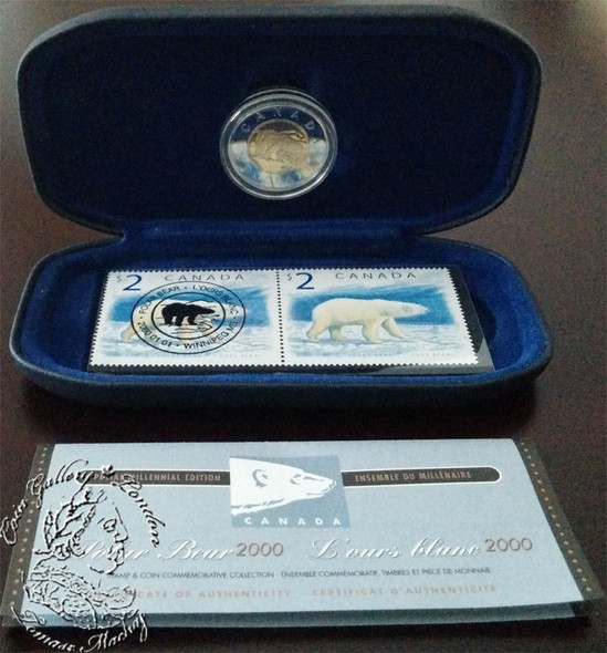 Canada: 2000 $2 Polar Bear Coin and Stamp Set