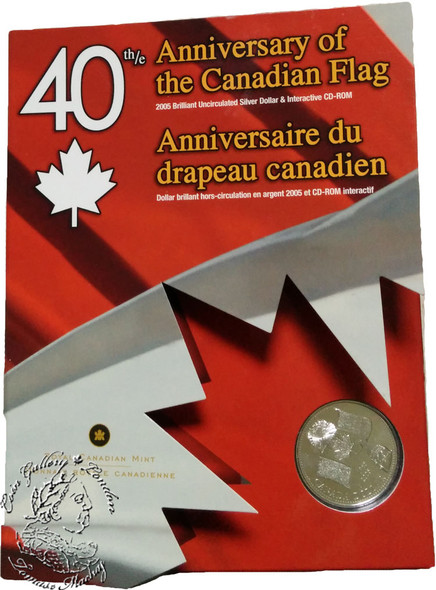 Canada: 2005 $1 40th Anniversary of the Canadian Flag Brilliant Uncirculated Silver Dollar & Interactive CD
