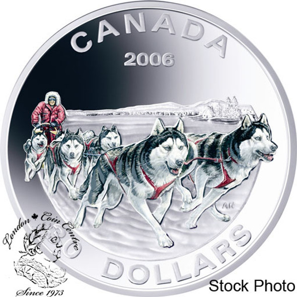 Canada: 2006 $30 Dog Sled Team Coloured Sterling Silver Coin