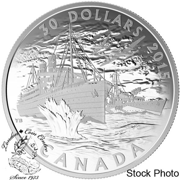 Canada: 2015 $30 Canada's Merchant Navy in the Battle of the Atlantic Silver Coin