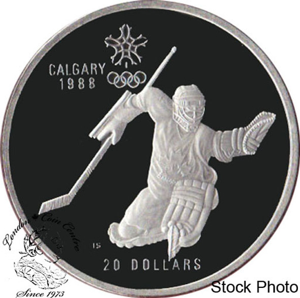 Canada: 1986 $20 Calgary Olympic Winter Games Hockey Silver Coin in Clamshell
