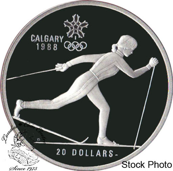 Canada: 1986 $20 Calgary Olympic Winter Games Cross-Country Skiing Silver Coin in Clamshell