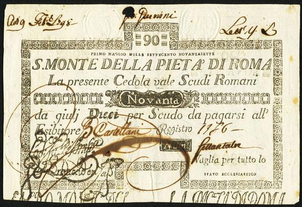 Italy: Papal States 1797 S. Monte Della Pieta' Di Roma 90 Scudi (1798) #3