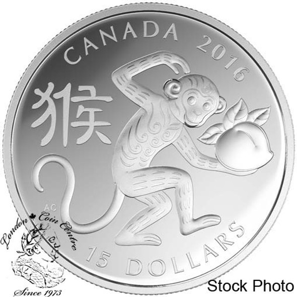 Canada: 2016 $15 Year of the Monkey Silver Coin