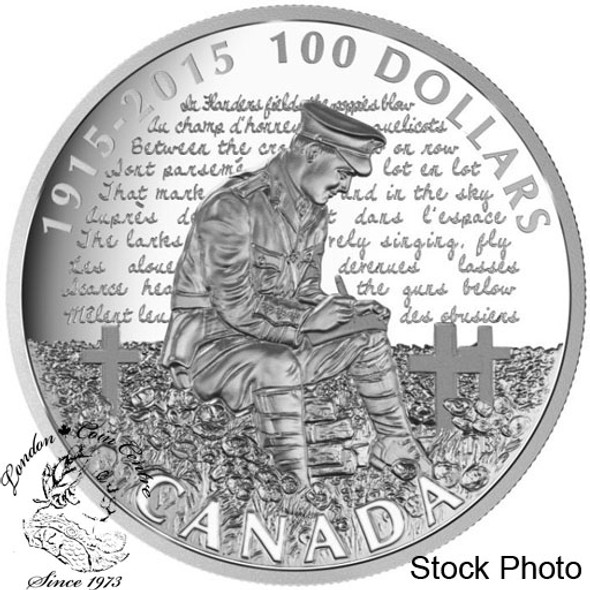 """Canada: 2015 $100 100th Anniversary of """"In Flanders Fields"""" Silver Coin"""