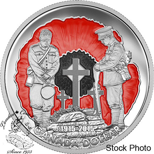 """Canada: 2015 $1 100th Anniversary of """"In Flanders Fields"""" Limited Edition Proof Silver Dollar Coin"""