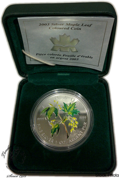 Canada: 2003 $5 Green Summer Coloured Silver Maple Leaf Coin