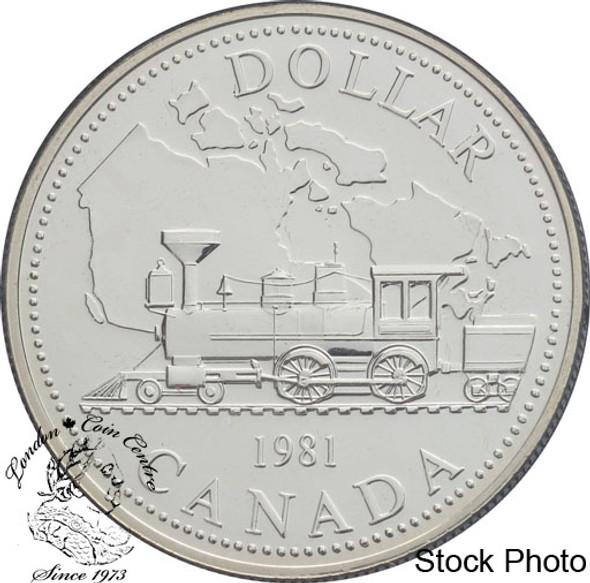Canada: 1981 $1 Trans-Canada Railway Centennial BU Silver Dollar Coin