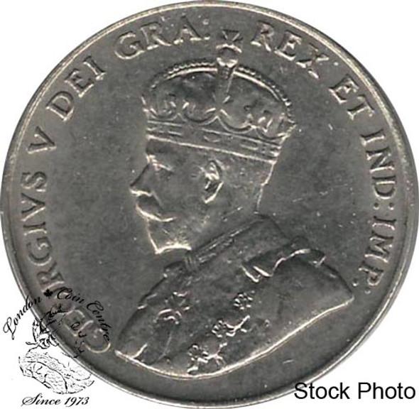 Canada: 1922 5 Cent Far Rim AU50