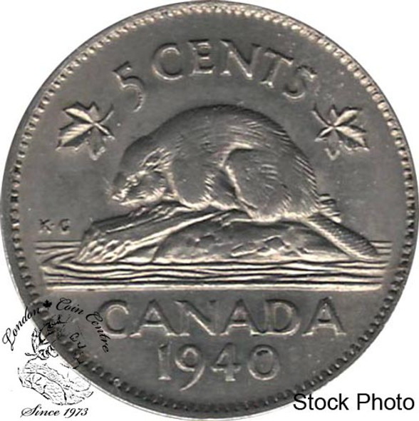 Canada: 1940 5 Cent AU50