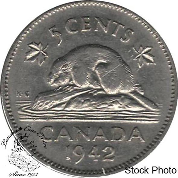 Canada: 1942 5 Cent Nickel EF40