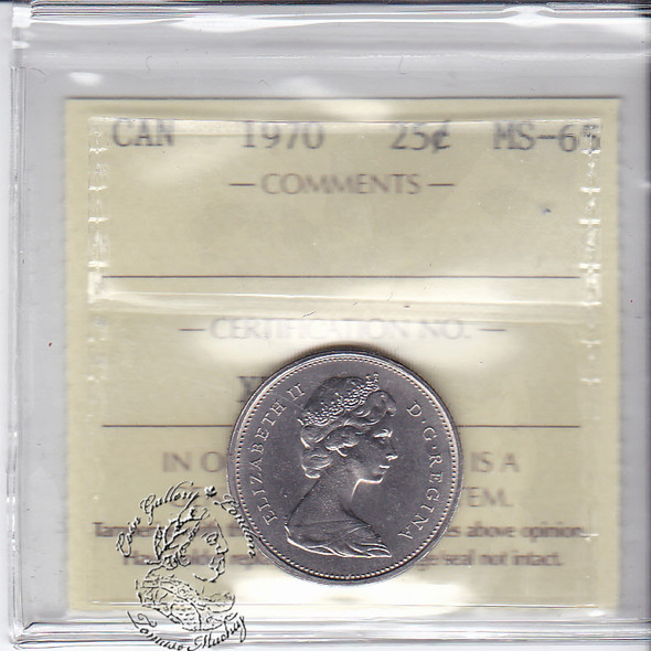 Canada: 1970 25 Cents ICCS MS65 Coin nr 6
