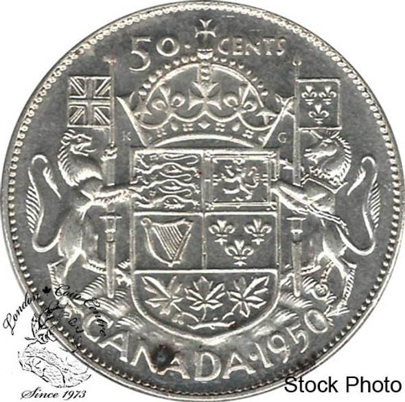 Canada: 1950 50 Cents No Des 0 AU50