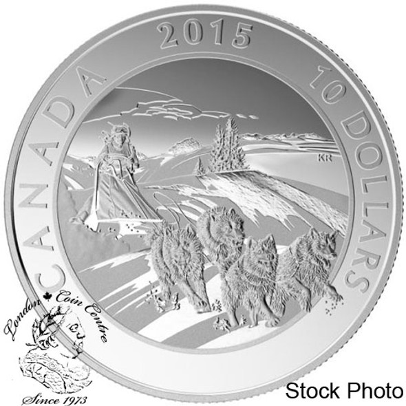Canada: 2015 $10 Adventure Canada: Dog Sledding Silver Coin