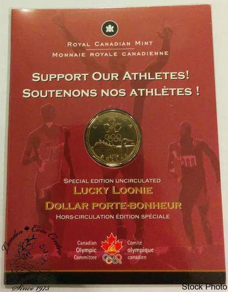 Canada: 2004 $1 Special Edition Lucky Loonie with Olympic Logo Coin