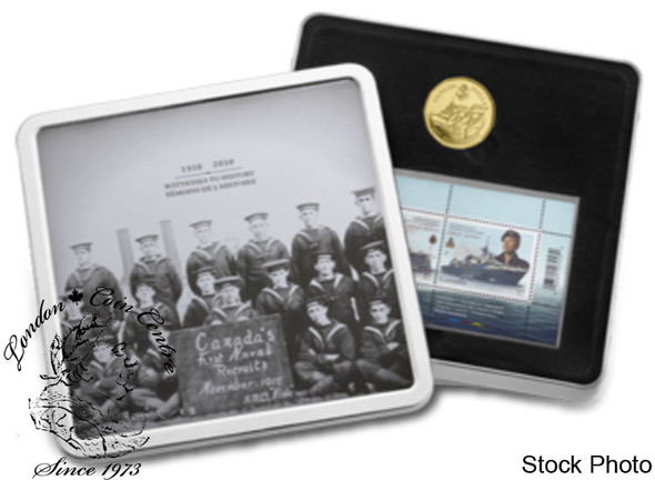 Canada: 2010 $1 Gold Plated Navy Centennial Coin and Stamp Set