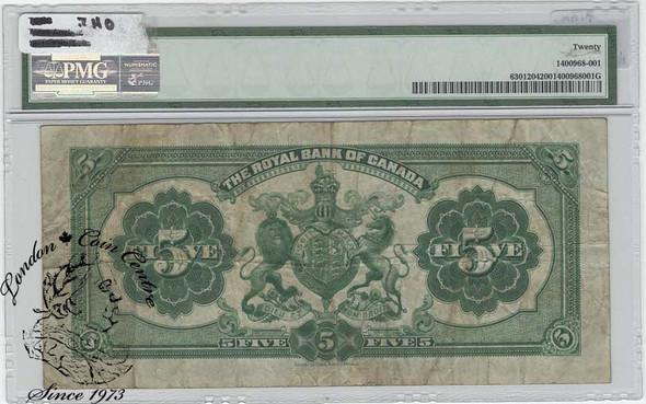 Canada: 1913 $5 Royal Bank of Canada Banknote PMG VF20