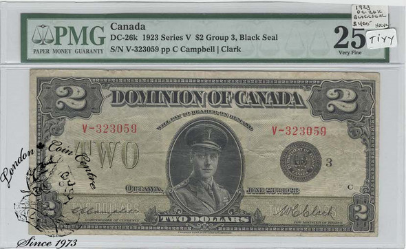 Canada: 1923 $2 Dominion of Canada Banknote DC-26k PMG VF25