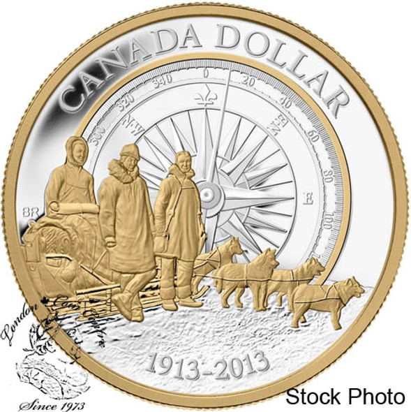 Canada: 2013 $1 100th Anniversary of the Canadian Arctic Expedition Gold Plated Silver Dollar