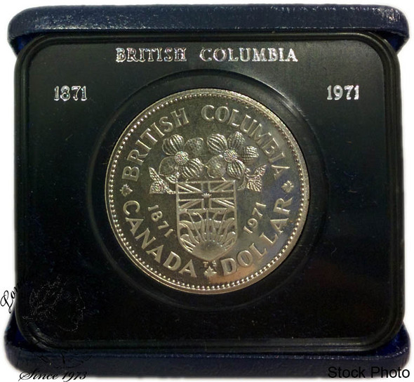 Canada: 1971 $1 British Columbia Nickel Proof Like Dollar Coin in Case