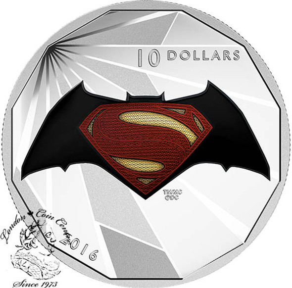 Canada: 2016 $10 Batman v Superman: Dawn of Justice™ - Logo - Fine Silver Coin