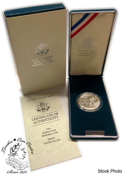 United States: 1991 $1 Korean War Silver Proof Dollar