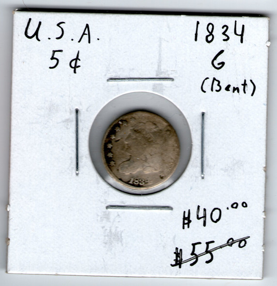 United States: 1834 Five Cent G (Bent)