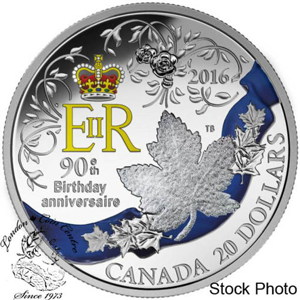 Canada: 2016 $20 A Celebration of Her Majesty's 90th Birthday Silver Coin