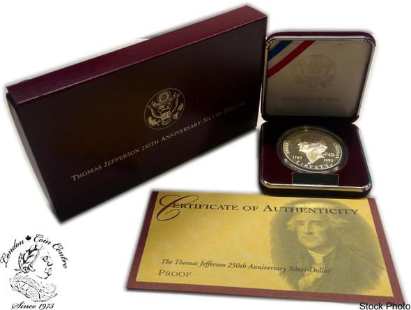 United States: 1993 $1 Thomas Jefferson 250th Anniversary Proof Silver Dollar
