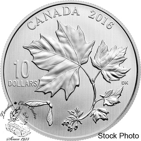 Canada: 2016 $10 Canadian Maple Leaves 1/2 Oz. Silver Coin