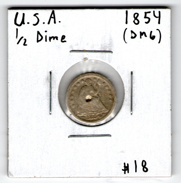 United States: 1854 Half Dime damage
