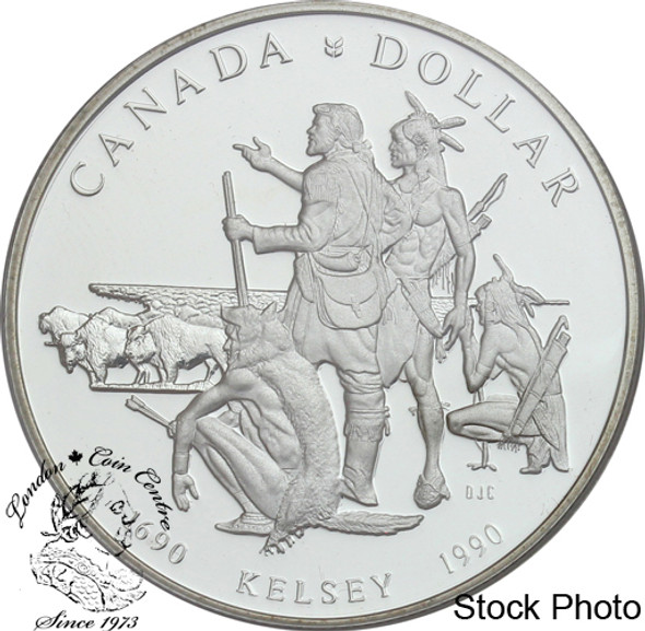 Canada: 1990 $1 Henry Kelsey Tricentennial Proof Silver Dollar Coin