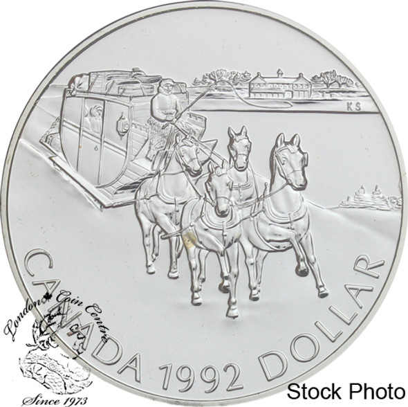 Canada: 1992 $1 Kingston to York Stagecoach BU Silver Dollar Coin