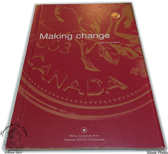 Canada: 2003 1 Cent Gold Plated Penny with Royal Canadian Mint Annual Report FRENCH VERSION